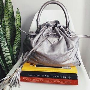 Prada Platino Metallic Napa Leather Bag
